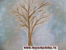 Рисуем с детьми мелками и красками деревья зимой