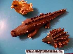 Детские поделки животных из пластилина и семечек