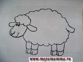 """Красивая аппликация из шерстяных ниток """"Овечка"""". Находим рисунок овечки (из раскрасок) либо рисуем сами на картоне белого, голубого либо зеленого цвета."""