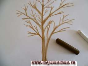 Коричневым мелком рисуем дерево.Белым восковым мелком рисуем снег на дереве и снежинки.