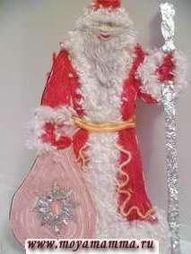 Поделка Дед Мороз из шерстяных ниток