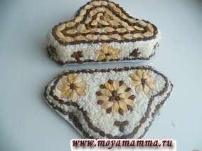 Внутренние и боковые части шкатулки также оклеиваем семечками и рисом.