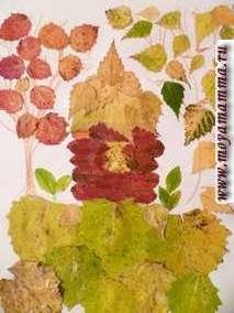 """Поделка """"Домик в лесу"""" из осенних листьев листьев рябины, березы, осины"""