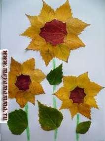 Детские поделки из осенних листьев Подсолнухи