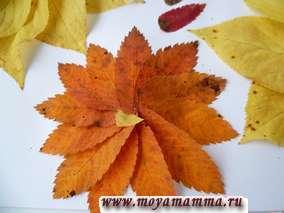 Листья приклеиваются наполовину, заходя друг на друга. Цветы получаются объемными.