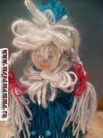 Куклы из шерстяных ниток. Снегурочка.
