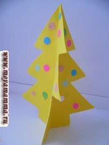 Также елку можно сделать из бумаги любого другого цвета. Например, елка из бумаги желтого цвета, украшенная конфетти из цветной бумаги .