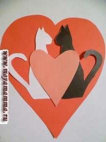 Валентинка с кошками и сердечком своими руками
