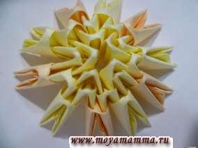Начало изготовления туловища. Модульное оригами петух
