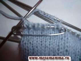 Формирование отверстия для пальца варежки