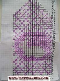 """Схема вязания рисунка """"Зайка"""" для детской варежки на спицах"""
