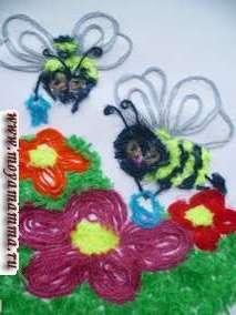 Поделка из шерстяных ниток Пчелки