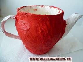 окрашивание чайника папье маше