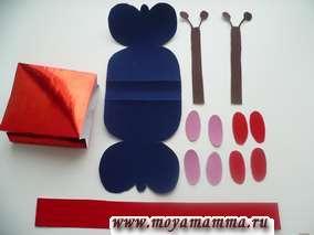 Детали бабочки для оформления декоративной части сумки из металлизированнойбумаги либо фольги