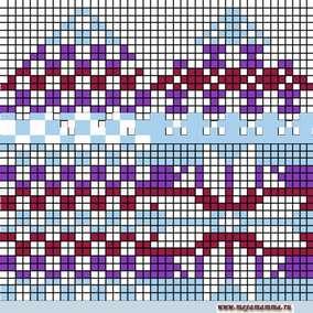 """Схема вязания орнамента""""Снежинка"""" для детской варежки"""