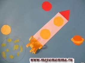 Приклеим круг красного цвета - Марс. Вырезаем круг оранжевого цвета, к нему приклеиваем кольцо из бумаги желтого цвета и размещаем на нашей аппликации. Это Сатурн. Ракету изготавливаем из прямоугольника белого или серого цвета и треугольника красного цвета. Иллюминаторы ракеты - кружочки из бумаги желтого цвета. Для того, чтобы изготовить пламя ракеты вырезаем прямоугольник желтого цвета и нарезаем его полосками не доходя до края на 0,5 см. Приклеиваем нашу деталь на месте хвоста ракеты. Свободные полоски завиваем в разные стороны.