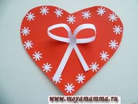 сердечко валентинка с бантиком
