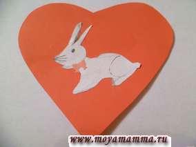 Валентинка с кроликом из бумаги