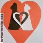 Валентинка с кошками из цветной бумаги
