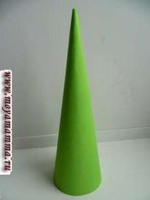 Для изготовления такой простой поделки понадобится цветная бумага, нитки вязальные (лучше использовать объемные нитки либо использовать тонкие нити путем сложения в несколько нитей), клей ПВА. Из бумаги зеленого цвета формируем конус и закрепляем при помощи степлера либо клея.