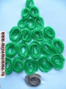 Детская новогодняя поделка Елочка выполнена из вязальных шерстяных ниток зеленого цвета. Из ниток скручиваются колечки по спирали и приклеиваются рядами в форме треугольника. Из коричневых ниток сделано колечко в качестве низа елочки