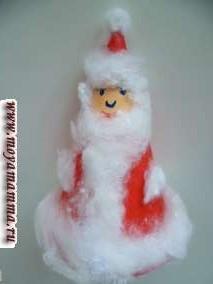 Дед Мороз из бумаги и ваты своими руками