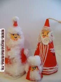 Поделки Деда Мороза из бумаги и ваты