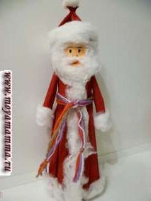 """Поделка """"Дед Мороз"""" из гофрированной бумаги и ваты своими руками"""