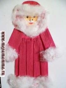 Оформление ватой одежды Деда Мороза