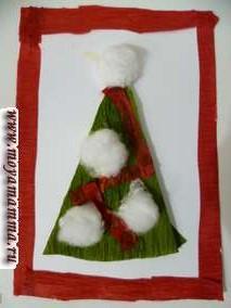 Открытка Новогодняя елка изгофрированной бумаги и ваты