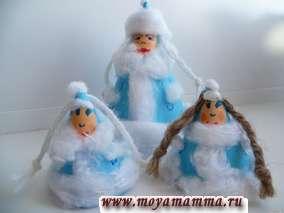 Новогодние поделки из ваты -Поделки Снегурочки из бумаги и ваты
