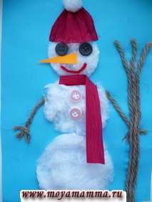 Новогодние поделки из ваты - Поделка Снеговик