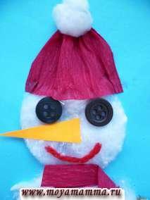 Оформление головы снеговика
