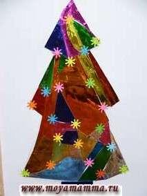 Аппликация Новогодняя елка из кусочков фольги