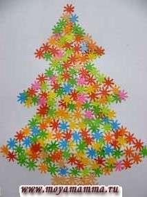 Аппликация Новогодняя елка из снежинок