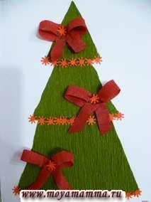 Аппликция Новогодняя елка с бантиками