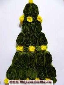 Аппликация Новогодняя елка из гофрированной бумаги