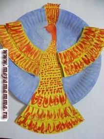 поделки из одноразовых бумажных тарелок Жар птица