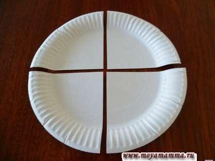 Разрезанная на 4 части бумажная тарелка