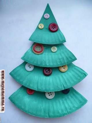 Новогодняя елка из бумажных тарелок, украшенная пуговицами