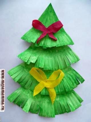 новогодняя елка из бумажных тарелок с бантиками