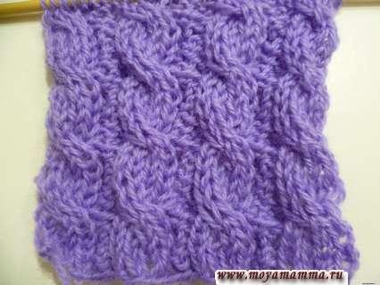 Простой двусторонний узор Косы для вязания шарфа на спицах