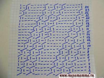 Схема вязания красивого узора для шарфа
