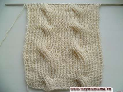 Двусторонний узор для шарфа с косами резинкой 1х1