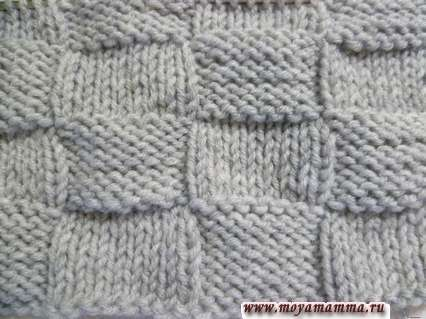 Узор шахматка для вязания шарфа