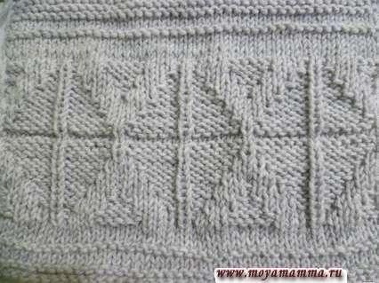 Узор из лицевых и изнаночных петель для оформления шарфа