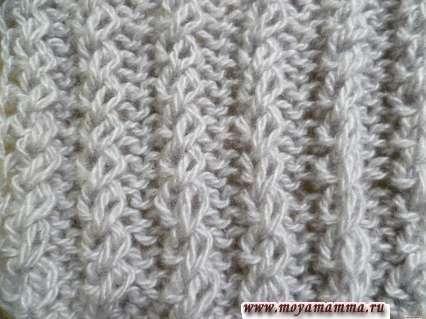 Узор двусторонняя резинка с перемещением петель для шарфа