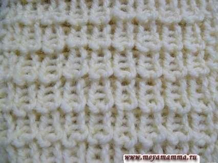 Узоры для вязания шарфов спицами. Жемчужная резинка 2