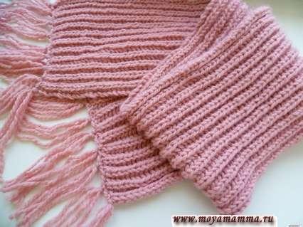 шарф связанный английской резинкой