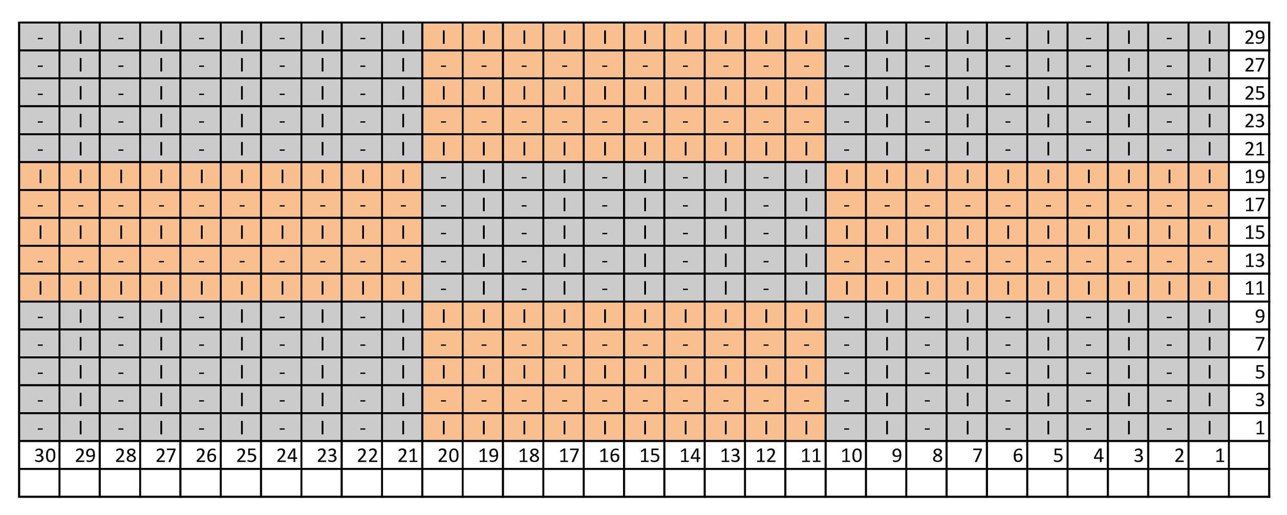 Схема шахматного узора для шарфа